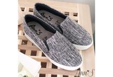 Ann'S黑白毛呢足弓墊腳顯瘦厚底懶人鞋
