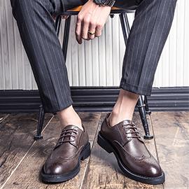 皮鞋男黑色布洛克韓版英倫休閒商務正裝大碼內增高西裝青少年皮鞋