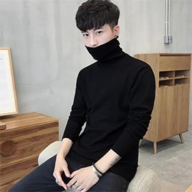 男士修身打底衫高領毛衣純色針織衫加絨韓版兩翻領線衫加厚男裝黑