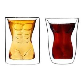 創意美女猛男雙層玻璃杯